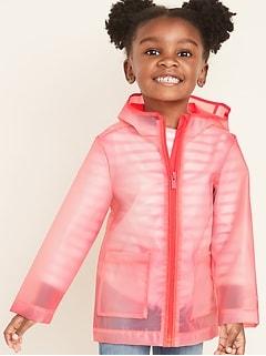 Imperméable hydrorésistant à capuchon et à glissière pour toute-petite fille