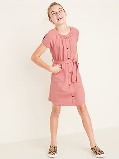 Thick-Knit Tie-Belt Button-Front Dress for Girls