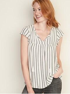 Striped Boho Tassel-Tie Top for Women