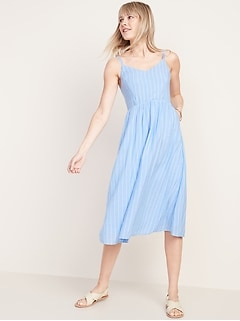Fit & Flare Striped Cami Midi Dress for Women