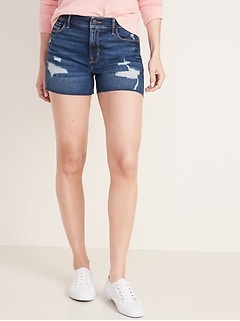 High-Waisted Distressed Jean Shorts for Women - 3.5-inch inseam