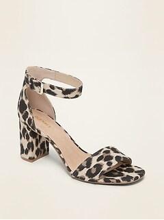 Sandales à talon compensé en toile à imprimée léopard pour femme