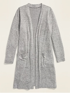 Chandail en tricot duveteux super long ouvert à l'avant pour fille