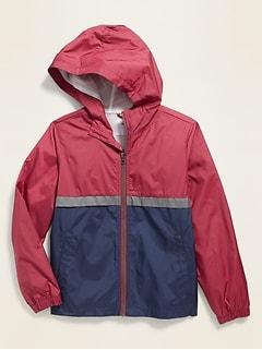 Water-Resistant Hooded Color-Blocked Windbreaker for Boys