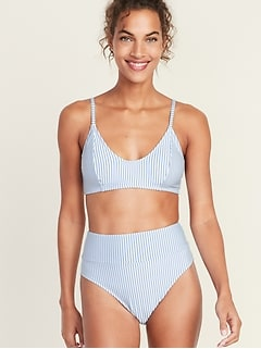 Seersucker-Stripe Bralette Swim Top for Women