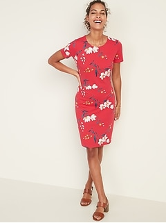 Floral-Print Ponte-Knit Sheath Dress for Women