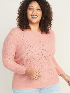 Pointelle Crew-Neck Plus-Size Sweater