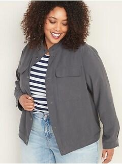Soft Twill Plus-Size Utility Jacket