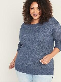 Marled-Yarn Crew-Neck Plus-Size Sweater