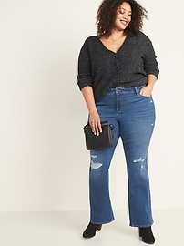 Mid-Rise Distressed Plus-Size Kicker Boot-Cut Jeans