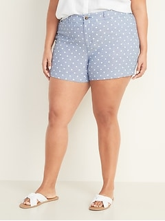 Mid-Rise Plus-Size Everyday Linen-Blend Shorts - 5-inch inseam