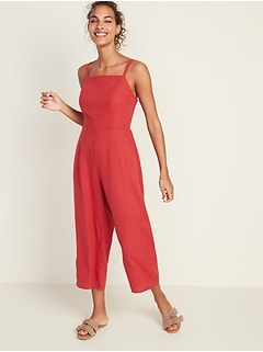 Linen-Blend Cami Jumpsuit for Women