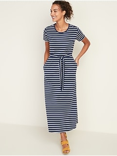 Striped Tie-Belt Shift Dress for Women