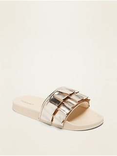 Gold-Metallic Slide Sandals for Girls