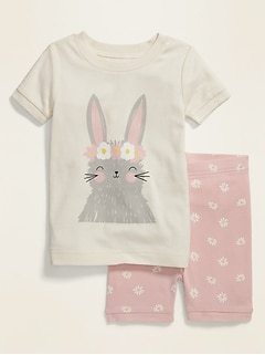 Bunny Graphic Pajama Set for Toddler & Baby