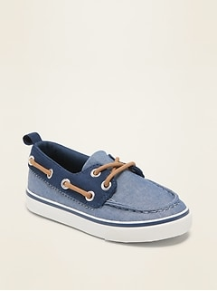 Chambray Boat Shoes for Toddler Boys