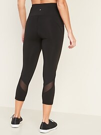 High-Waisted Elevate Side-Pocket Mesh-Trim Compression Crops for Women