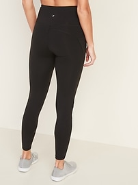 High-Waisted Elevate Side-Pocket Mesh-Trim 7/8-Length Compression Leggings for Women