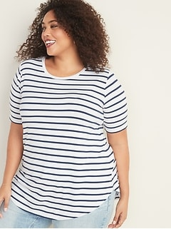 Luxe Striped Plus-Size Tunic Tee
