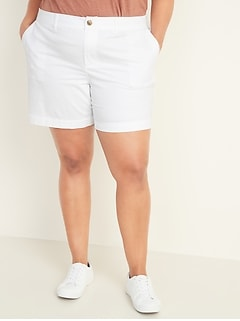 Mid-Rise Plus-Size Everyday Twill Shorts -- 7-inch inseam