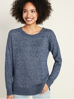 Marled Drop-Shoulder Crew-Neck Sweater for Women