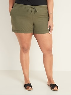 Mid-Rise Plus-Size Linen-Blend Shorts