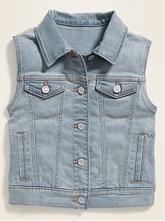 Fitted Button-Font Jean Vest for Girls