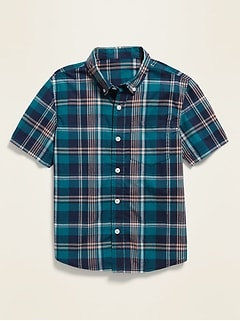 Plaid Built-In Flex Short-Sleeve Shirt for Boys