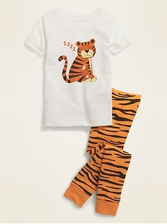Tiger Graphic Pajama Set for Toddler & Baby