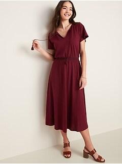 Waist-Defined Tassel-Tie Boho Midi Dress for Women