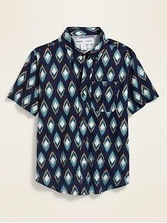 Printed Built-In Flex Short-Sleeve Oxford Shirt for Boys