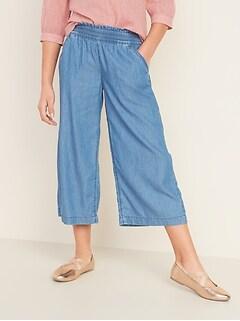 Pull-On Wide-Leg Pants for Girls