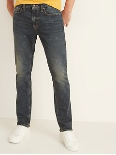 Slim Built-In Flex Dark Stone-Wash Jeans for Men