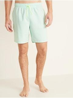 Solid-Color Swim Trunks for Men -- 8-inch inseam
