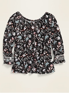 Smocked Raglan-Sleeve Floral Top for Girls