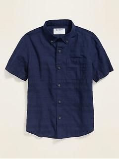 Textured Dobby Short-Sleeve Shirt for Boys