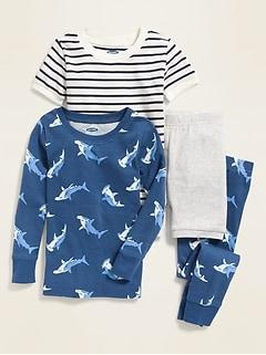 Shark-Print 4-Piece Pajama Set for Toddler & Baby