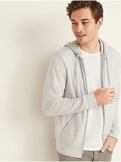 Soft-Washed Slub-Knit Zip Hoodie for Men