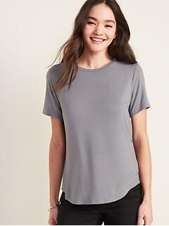 T-shirt luxueux à encolure ras du cou pour femme