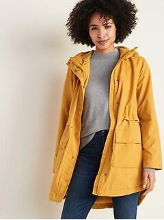 Water-Resistant Hooded Rain Jacket for Women