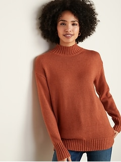 Slouchy Mock-Neck Tunic Sweater for Women