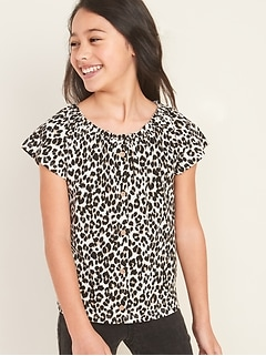 Printed Slub-Knit Faux Button-Front Top for Girls