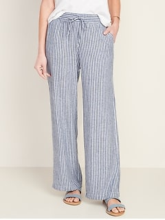 Mid-Rise Wide-Leg Linen-Blend Pull-On Pants for Women