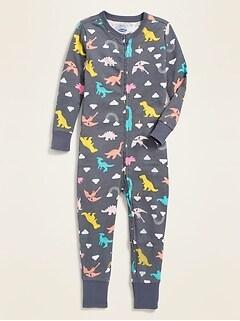Dinosaur-Print Pajama One-Piece for Toddler & Baby