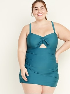 Secret-Slim Plus-Size Tie-Front Swim Dress
