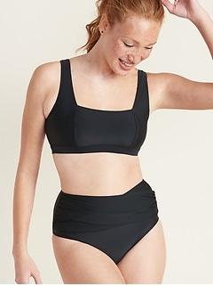 Haut de maillot de bain à encolure carrée pour femme