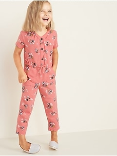 Jersey Button-Front Jumpsuit for Toddler Girls