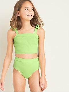 Textured Tie-Shoulder Tankini for Girls