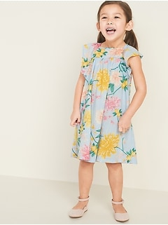 Floral-Print Flutter-Sleeve Dress for Toddler Girls
