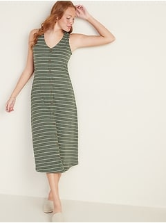 Sleeveless Button-Front Rib-Knit Midi Dress for Women